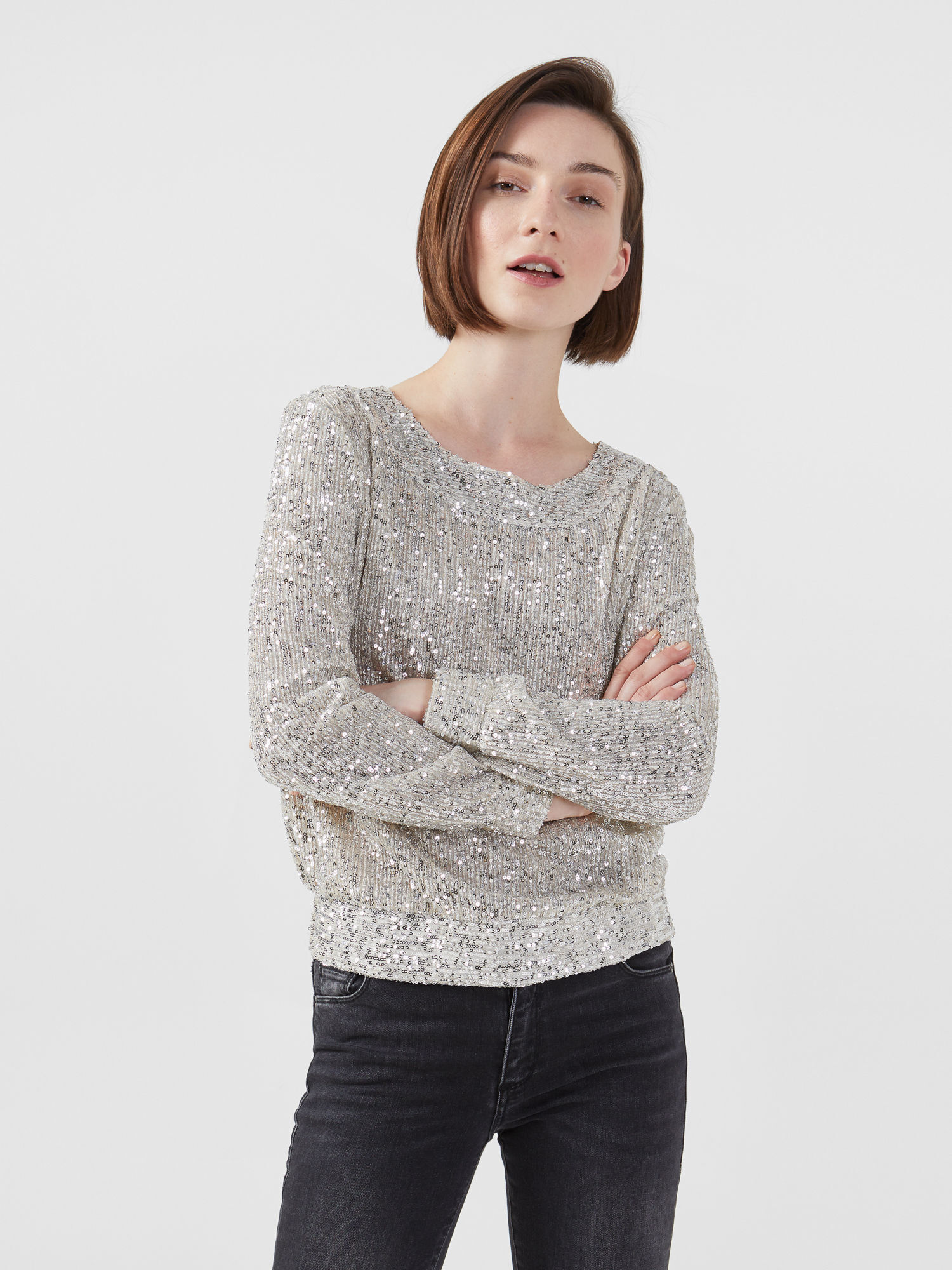 Blusa cropped in paillette