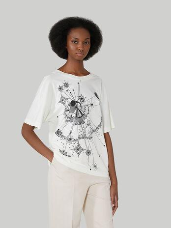 T-Shirt im Boy-Fit aus bedruckter reiner Baumwolle