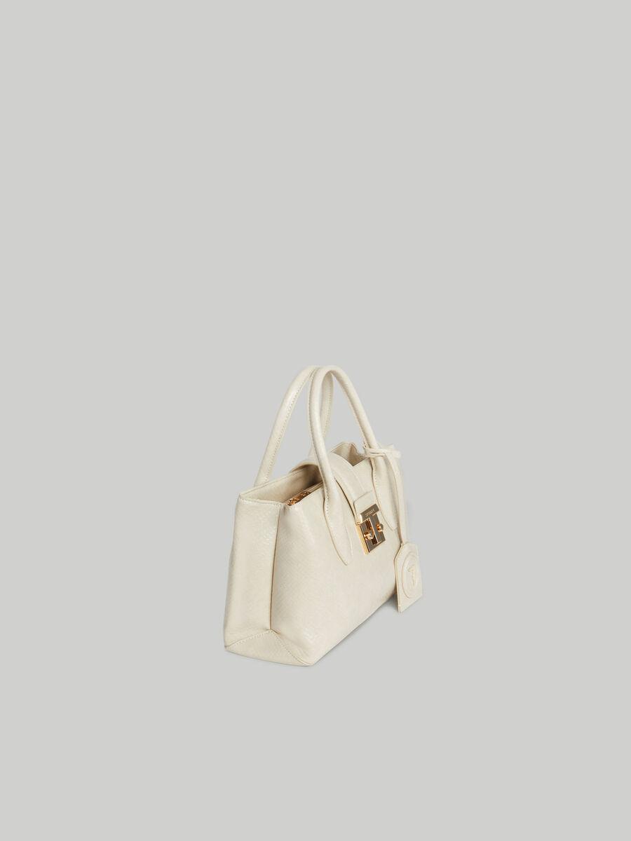 Small Tulip tote bag with python print