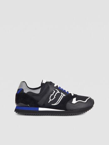 Sneakers de running en cuir et tissu technique a lacets