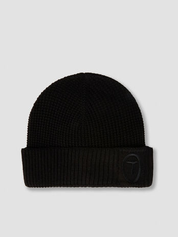 Wool blend hat with embroidered logo