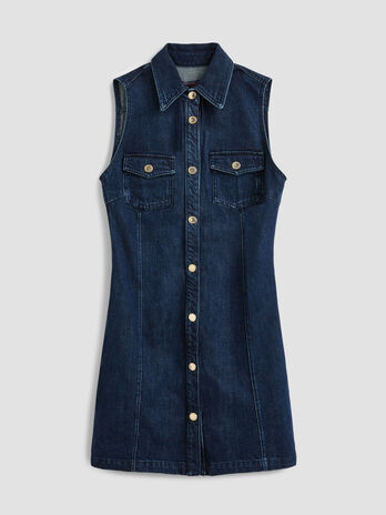 Denim mini dress with buttons