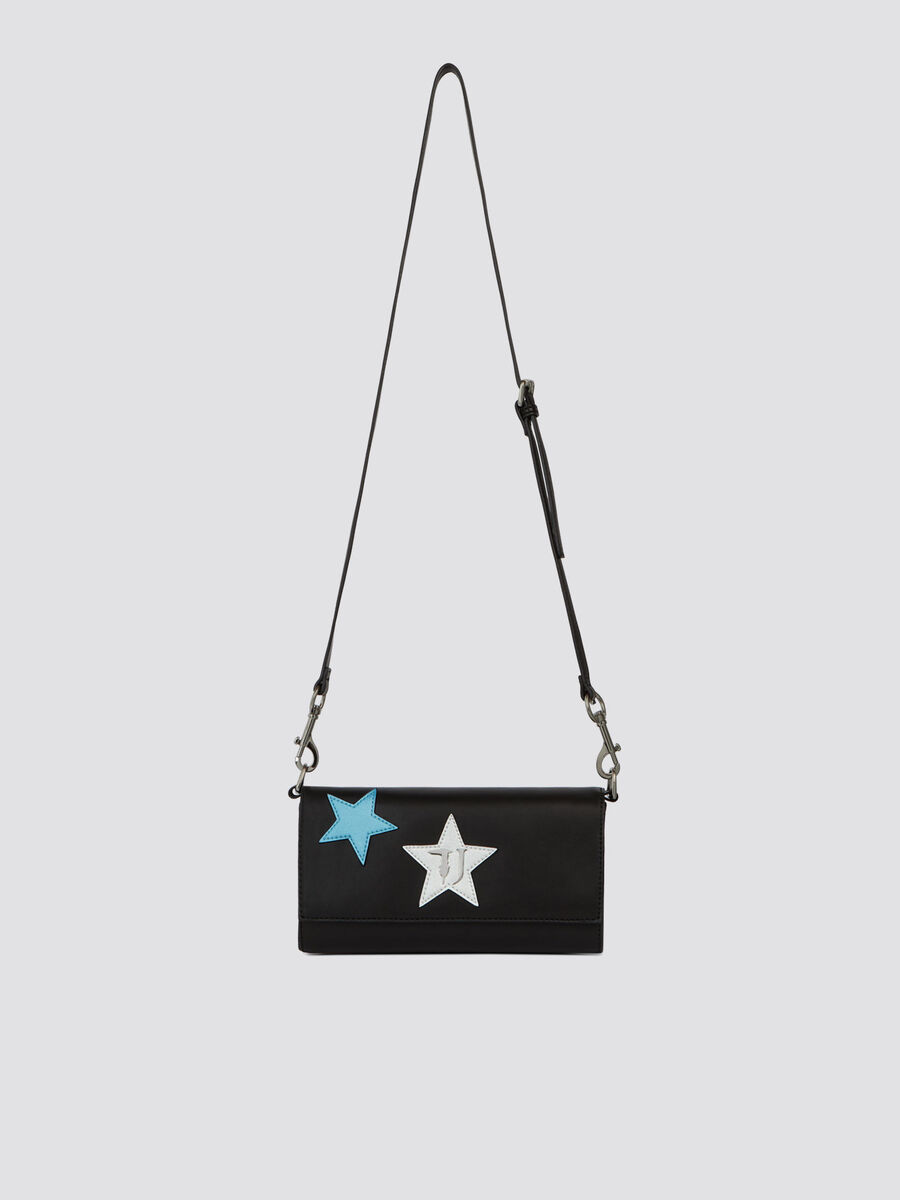 Faux leather T-Easy Night mini clutch with stars