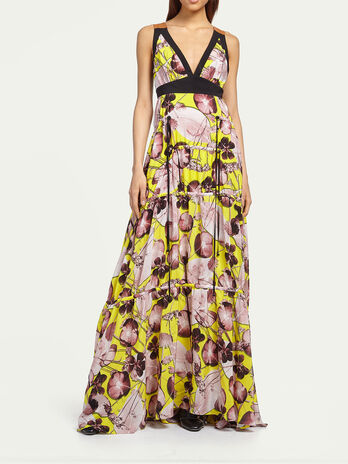 Long floral crepe de chine dress