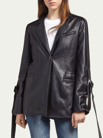 Lambskin jacket with straps