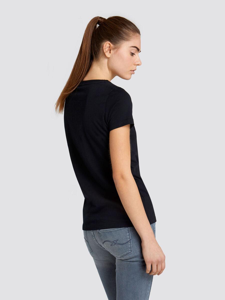 T shirt regular fit in jersey di cotone e lettering