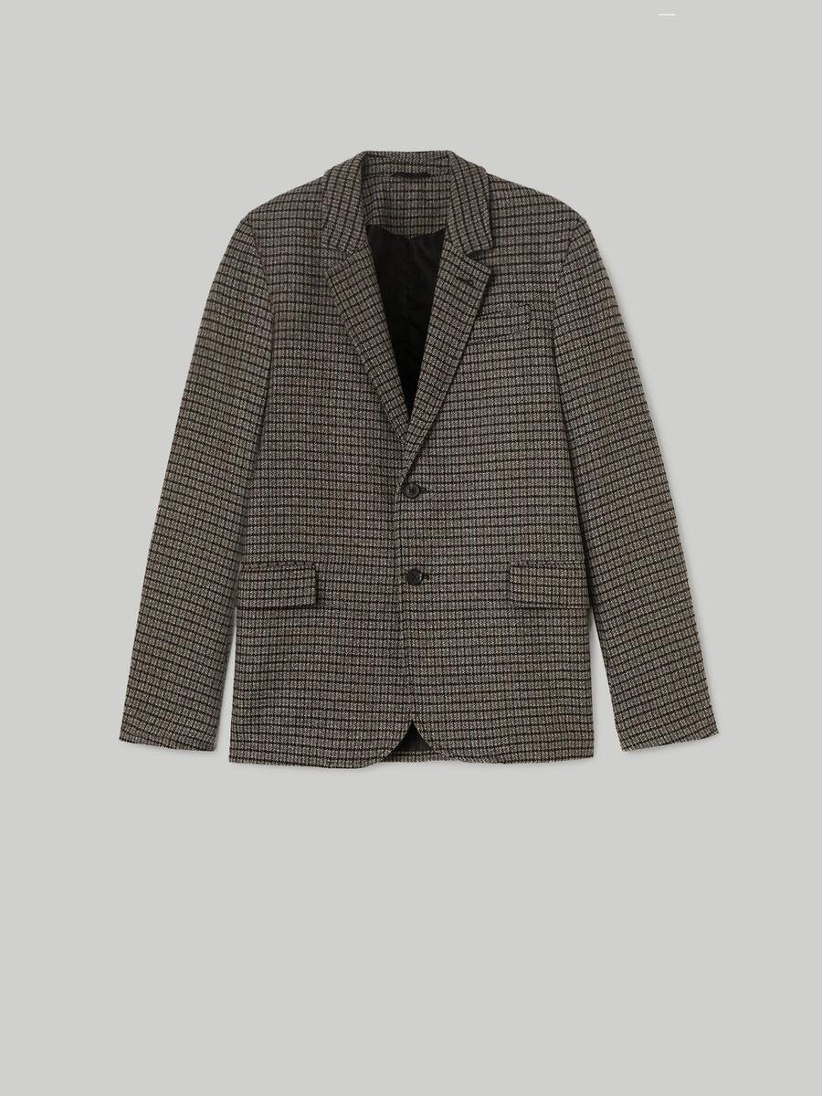 Chequered single-breasted blazer