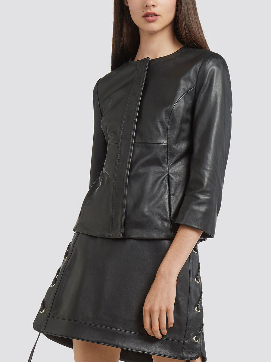 Regular fit leather jacket with lacing
