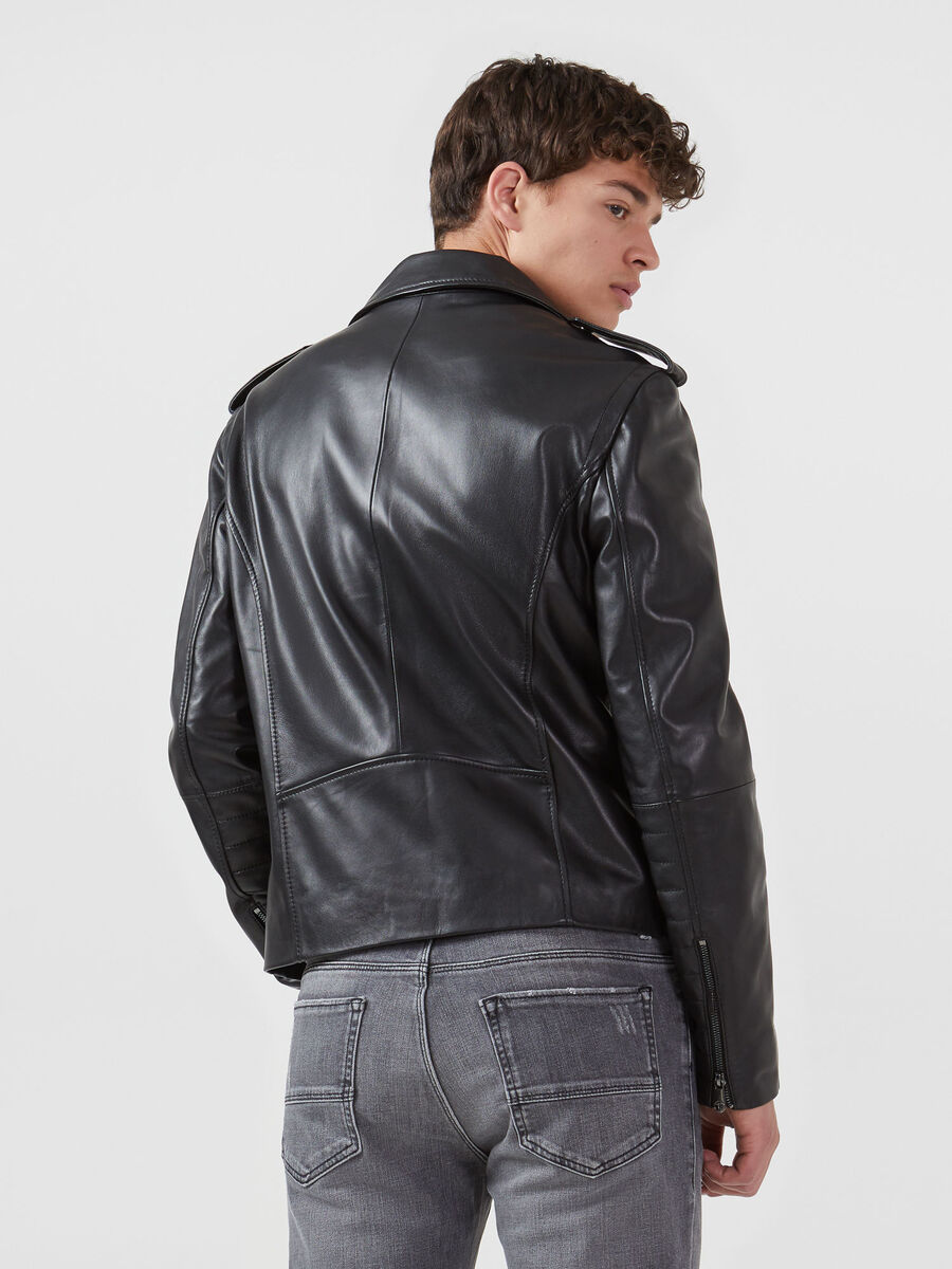 Regular fit leather motorcycle jacket