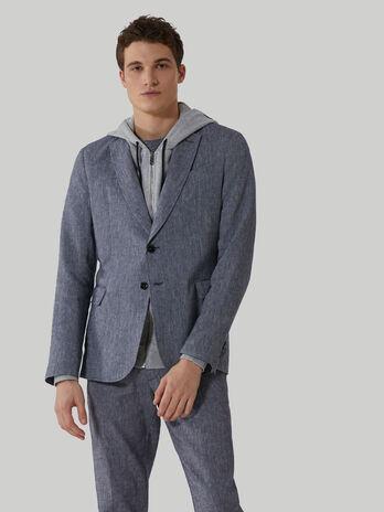 Regular-fit cotton and linen blazer