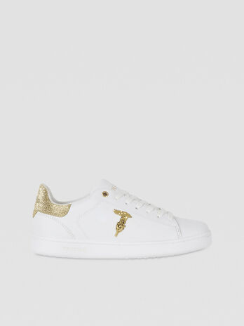 Leather Sneakers with glittery Logo