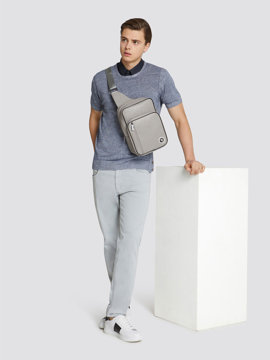 Faux leather T-Cube one shoulder backpack with mini logo