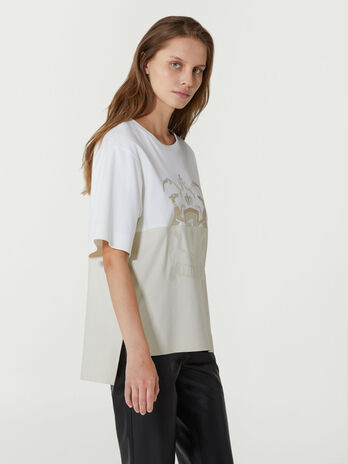 Oversized two tone cotton T-shirt with logo