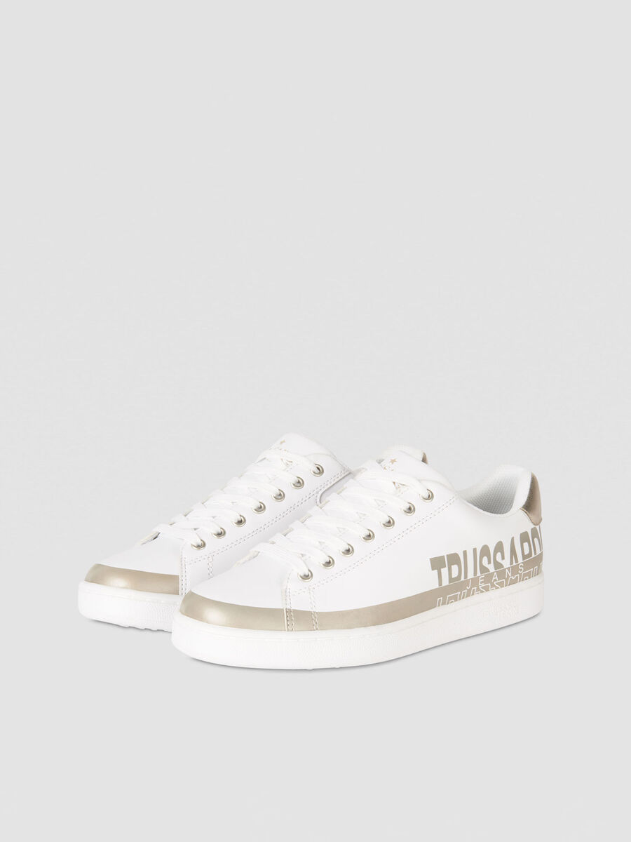 Colour block faux leather sneakers