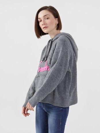 Oversized wool blend hoody