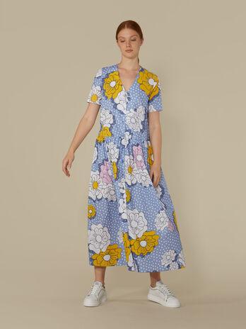 Langes Kleid aus technischer Baumwolle