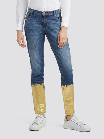 Girlfriend fit jeans with laminated wash