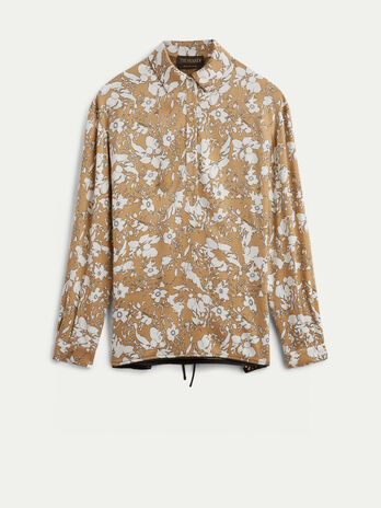 Printed viscose shirt with laces