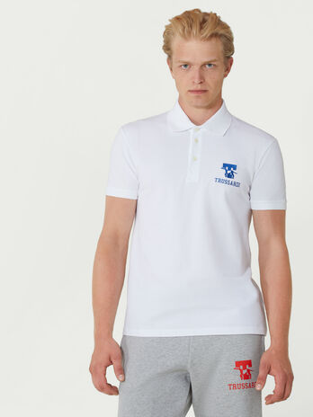 Regular fit cotton pique polo shirt with logo detail
