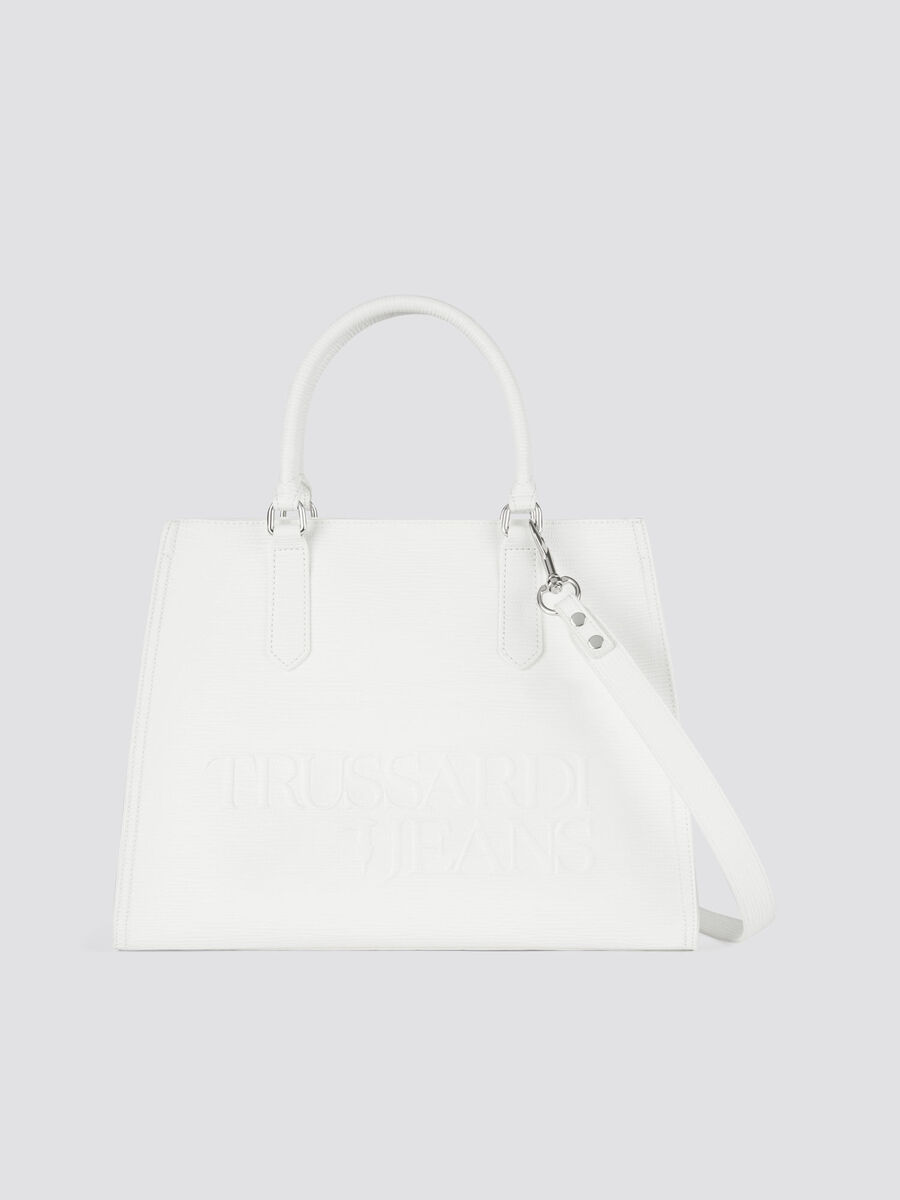 Large saffiano print faux leather T-Tote