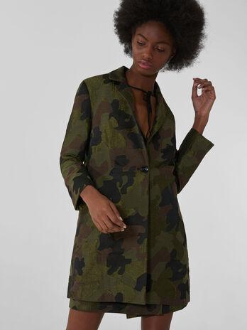 Mantel in Midilaenge aus Camouflage-Jacquard