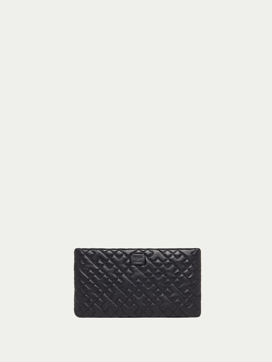 Quilted nappa clutch with shoulder strap