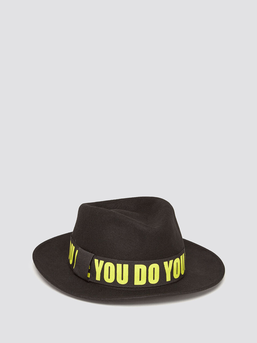 Felt fedora with lettering