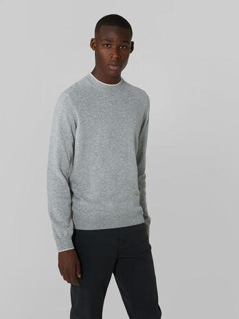 Regular fit cashmere blend crew neck pullover