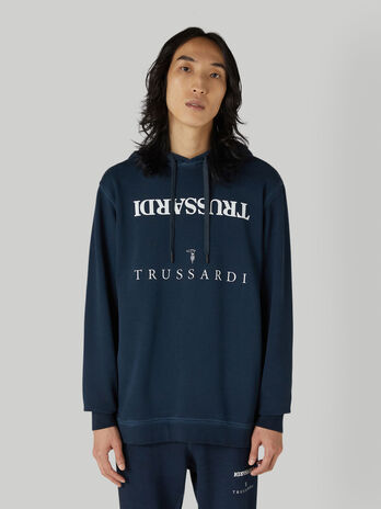 Vintage cotton hoody with lettering