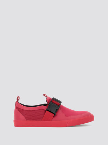Neoprene and leather slip ons