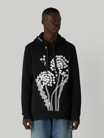 Cotton hoody with maxi-embroidery