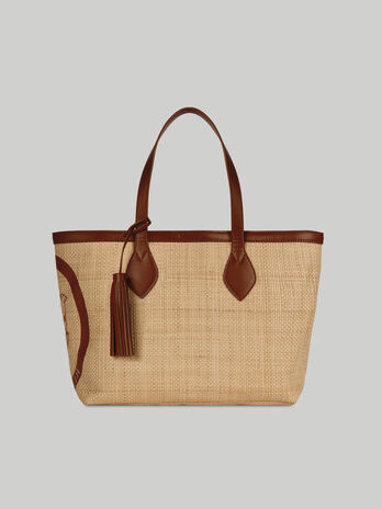 Medium raffia Logo Pop shopper