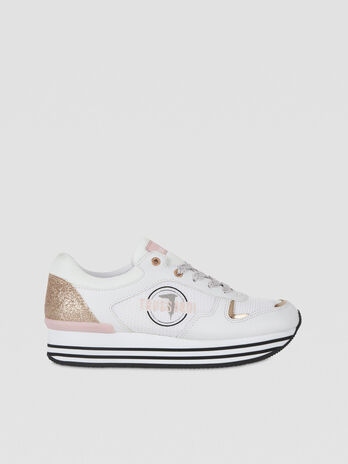 Glittery faux leather running sneakers