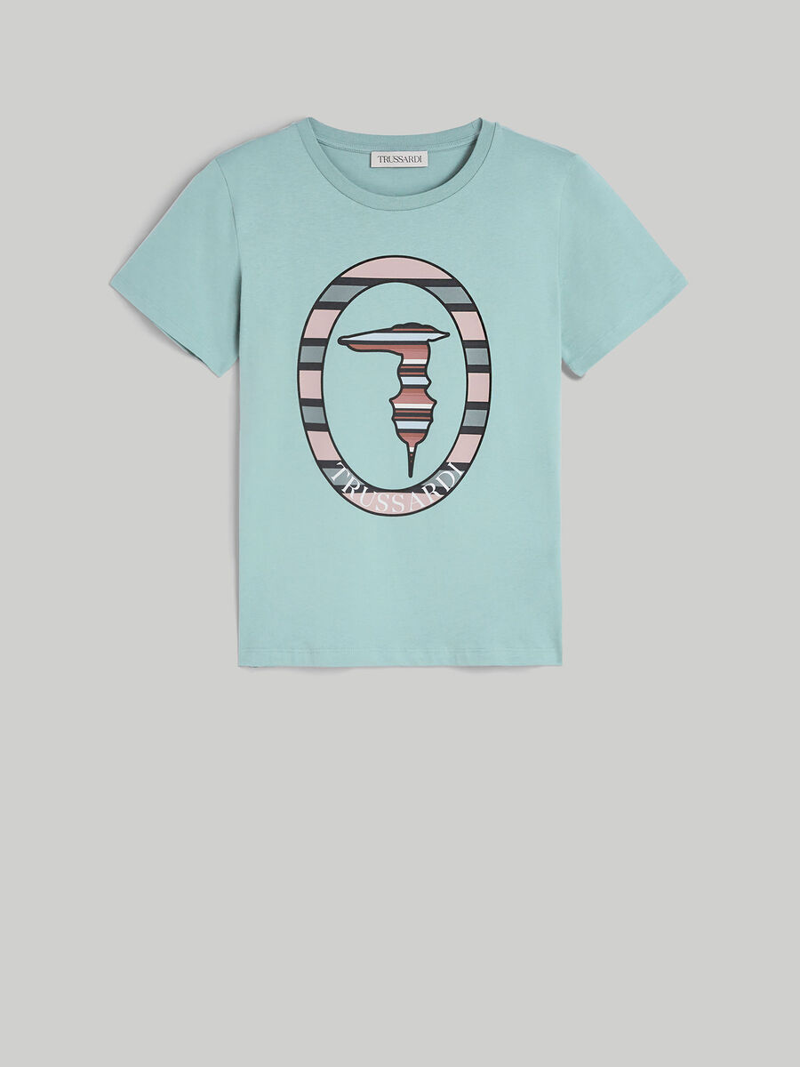 T-shirt regular fit in cotone con monogram