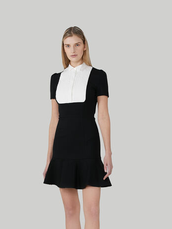 Short jersey dress with shirt front