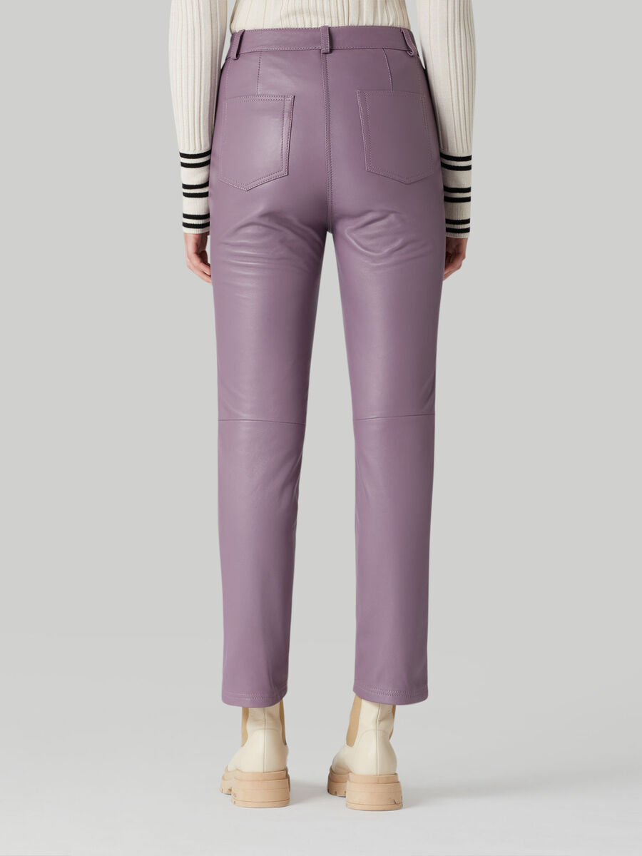 Solid-colour nappa leather trousers