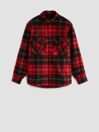 Chequered wool flannel shirt