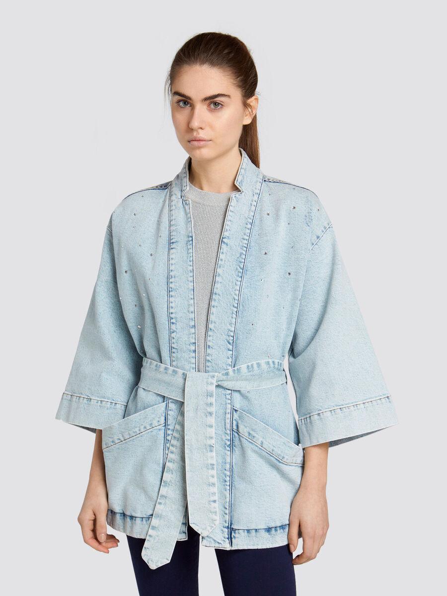 Giacca kimono in luminoso denim slavato con punti luce