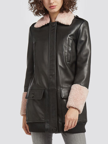 Regular fit leather coat
