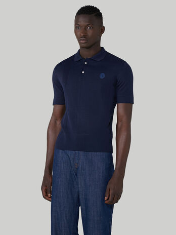 Regular-fit plaited-rib viscose polo-shirt
