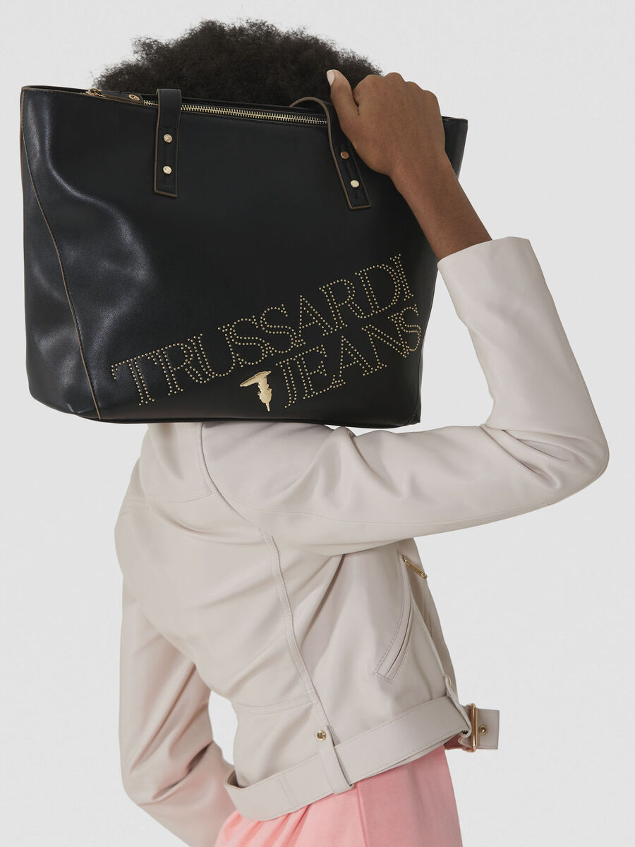 Large shopping bag in studded faux leather