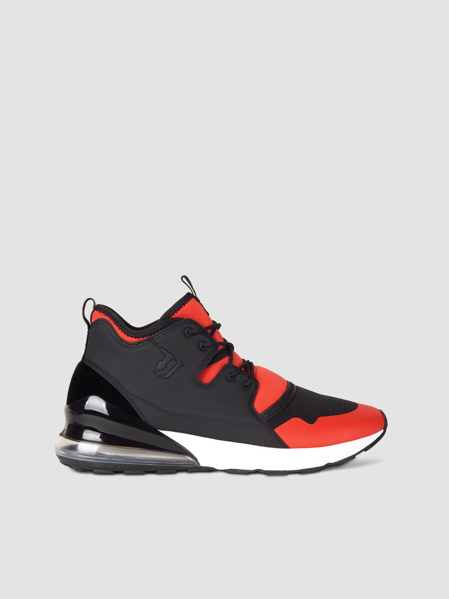 Faux leather running sneakers with monogram detailing