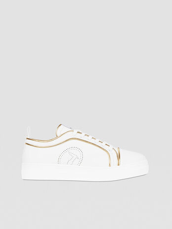 Sneaker in pelle con piping in pitone