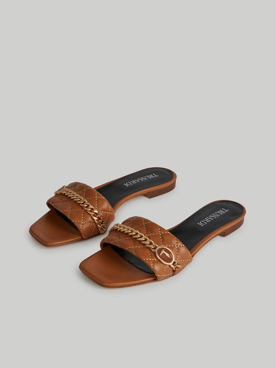 Sandalo flat in pelle trapuntata