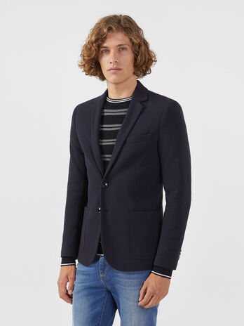 Blazer slim fit in jersey spinato