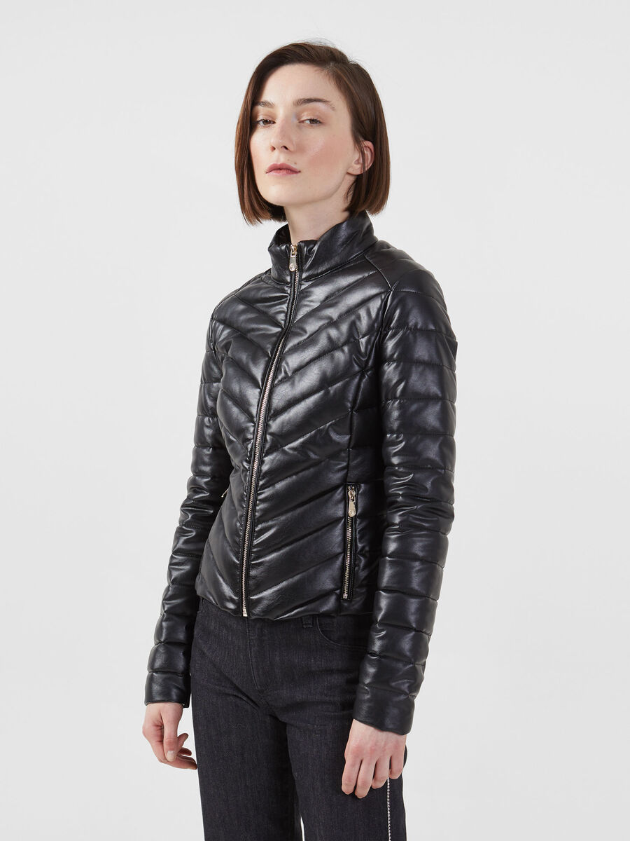 Slim fit down jacket in stretch faux leather