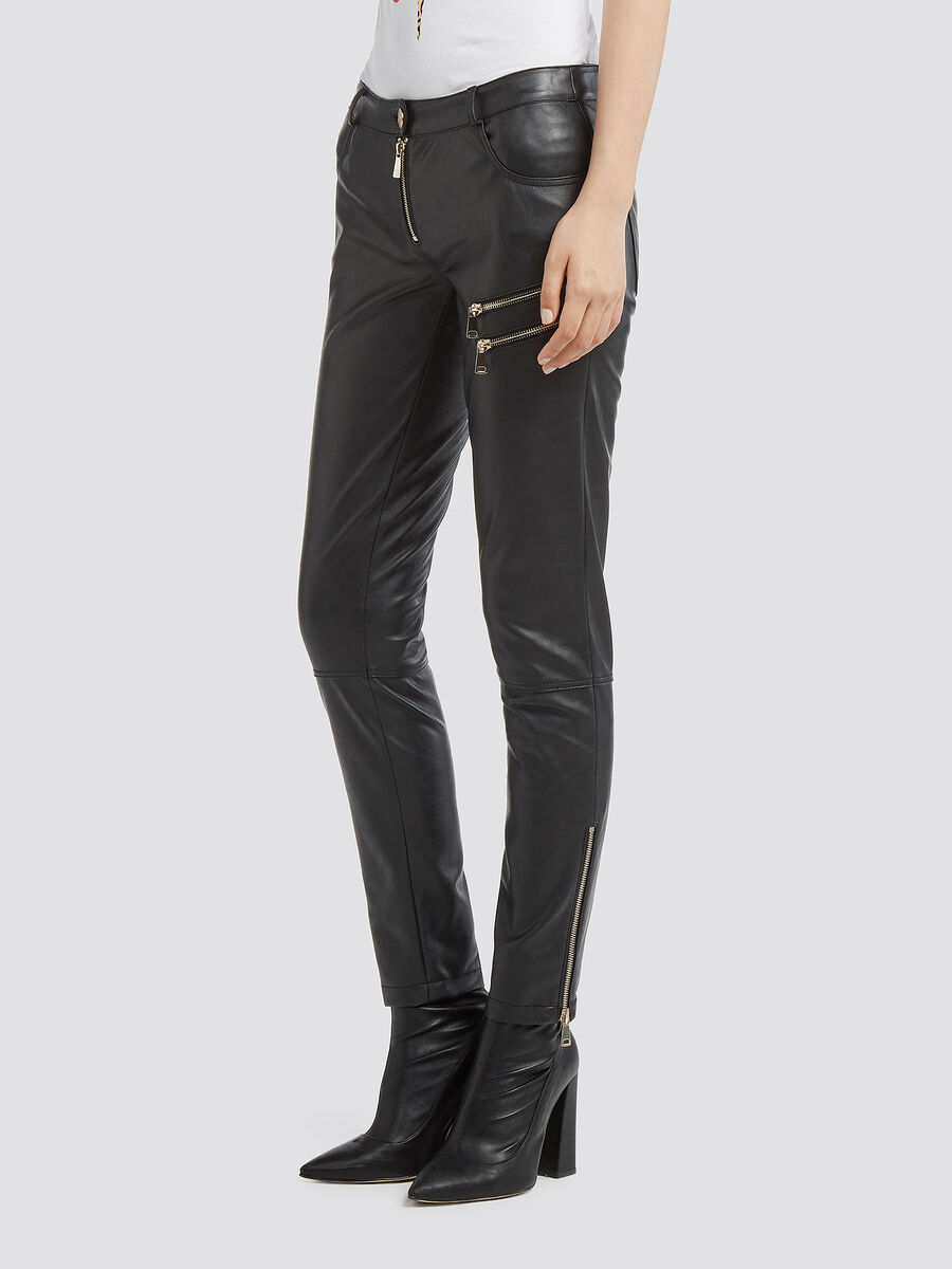 Slim fit trousers in faux leather