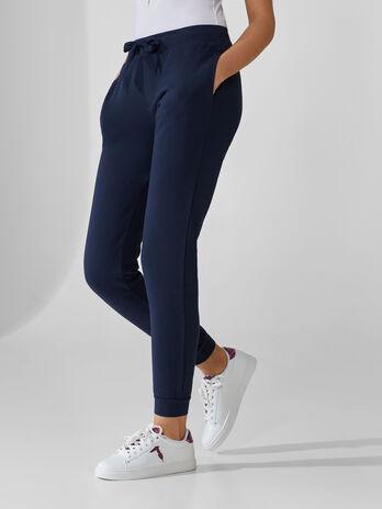 Pantalon en molleton de coton avec lien de serrage