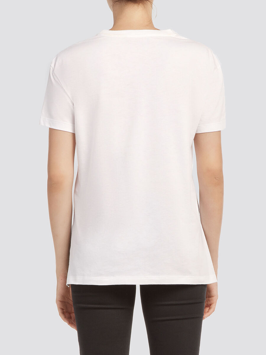 Cotton jersey cropped T shirt with asymmetrical hem