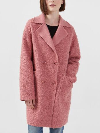 Oversized solid colour boucle coat